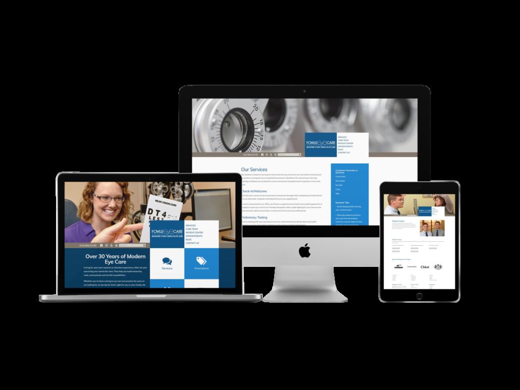 Trio of screenshots highlighting eyecare brand
