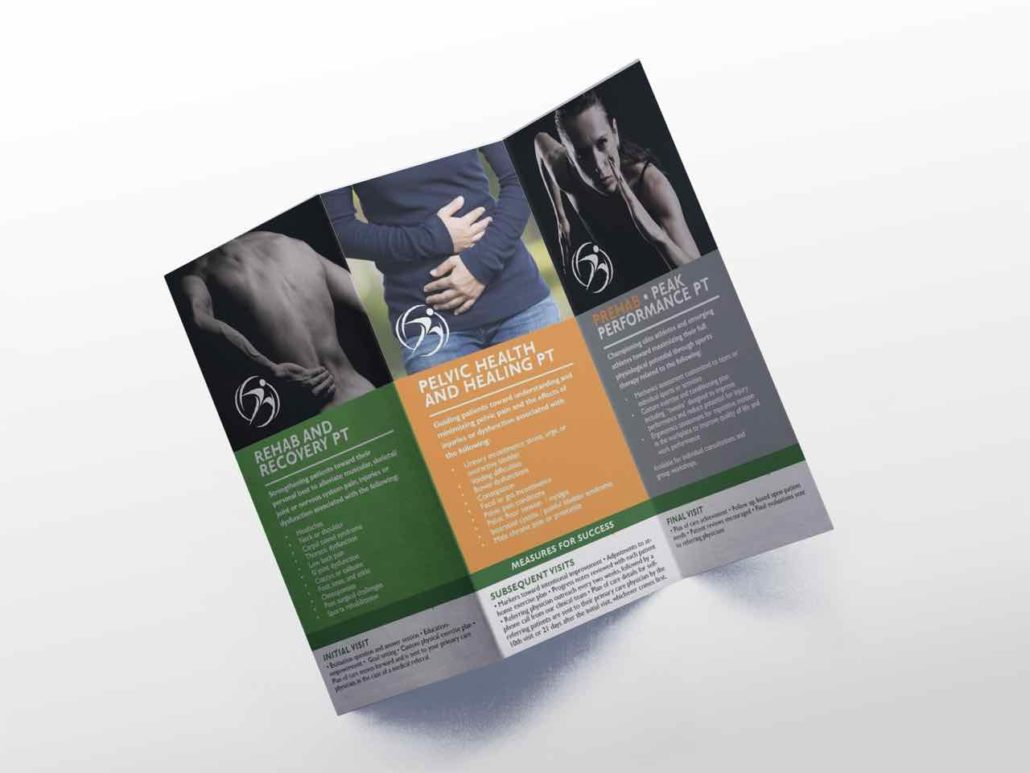 Inside brochure panel highlighting physical therapy services