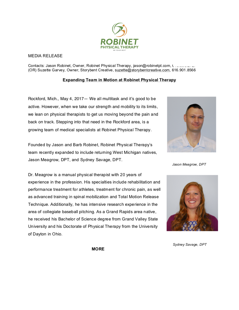 media release on new hires for physical therapy clinic