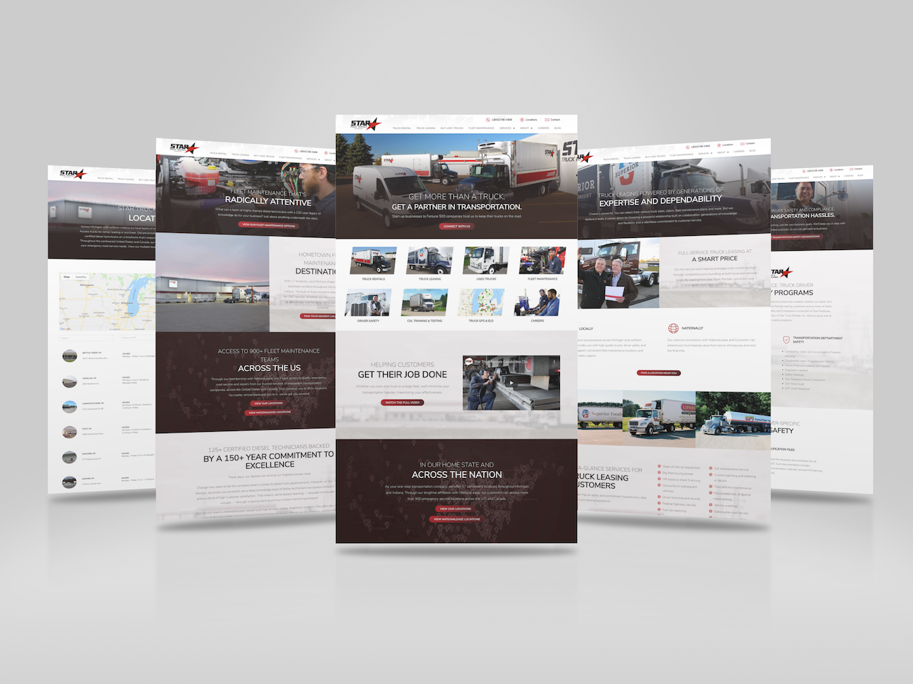 Five pages of the Star Truck Rentals website side by side